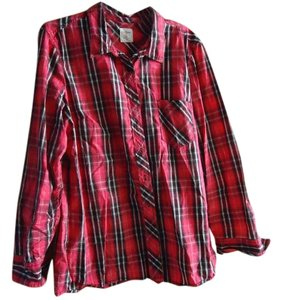 Gap Boyfriend Button Down Shirt Red Plaid