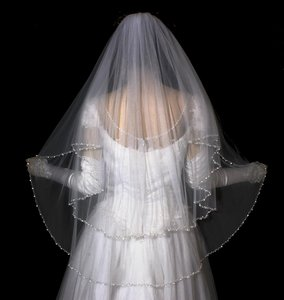 Diamond White Two Layer Pearl Beaded Edge Fingertip Wedding Veil