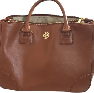 Tory Burch Smoke Free Home Dust Included Laptop Satchel in Saddle