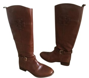 Tory Burch Leather Riding Equestrian Cognac Boots