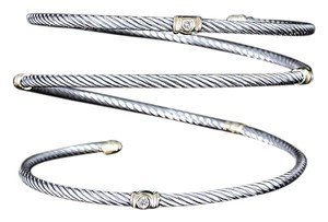 David Yurman David Yurman Serpentine Cable Bracelet with Diamonds and 18K Gold Rare Authentic