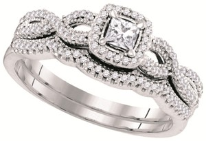 Ladies Luxury Designer 10k White Gold 0.40 Cttw Diamond Engagement Ring Bridal Set