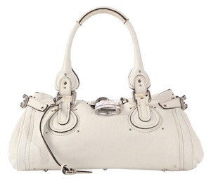 Chloé Two-tone Padlock Double Zipper Cl.k0506.04 Leather Satchel