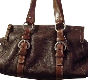 Coach Satchel in Brown With Silver Hardwar