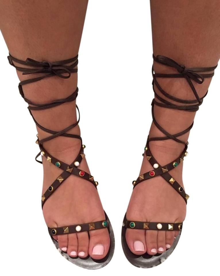 Valentino Brown Rockstud Bead Strap Sandals Gladiator Ankle Flat 37 Sandals Strap cf754e