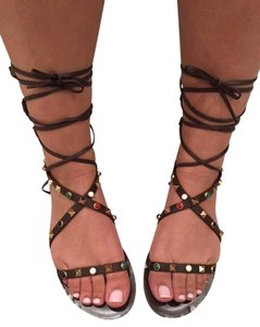 Valentino Rockstud Brown Sandals