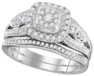 Ladies Luxury Designer 10k White Gold 0.39 Cttw Diamond Engagement Ring Bridal Set