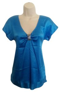 Rebecca Taylor Embellished V-neck Silk Top Blue