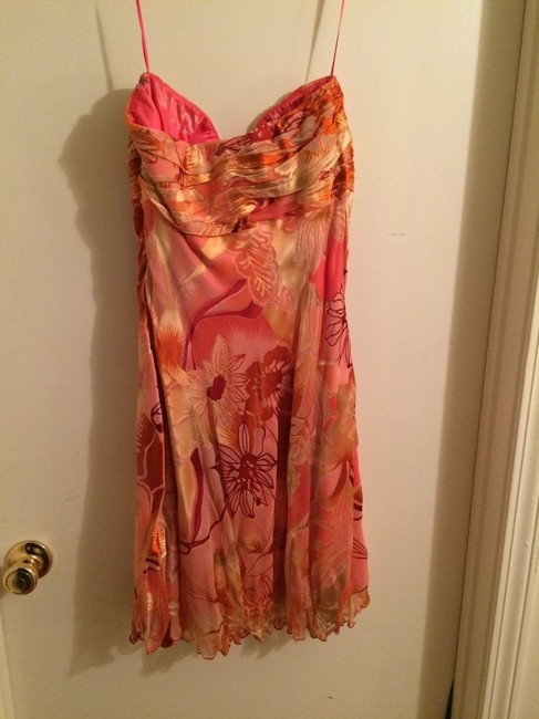 Mary L Couture Strapless Floral Rhinestone Dress