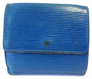 Louis Vuitton Today's Giveaway #7157 Blue Epi Leather Double Sided Wallet