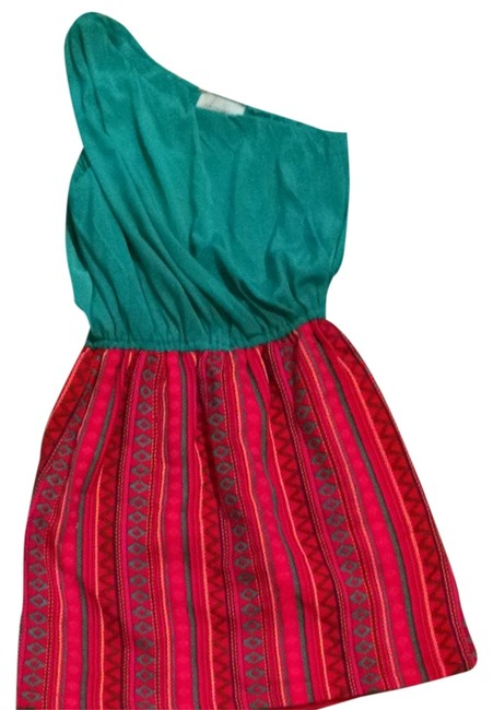 Judith March short dress teal/green with multicolor bottom on Tradesy