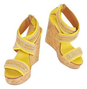 Tory Burch Chain Lucian Cork Gold Summer Yellow Wedges