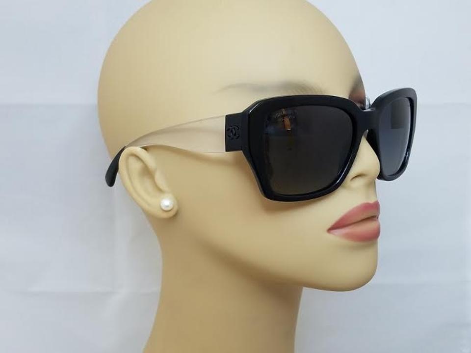 b40f245f142 Chanel Chanel Black and Clear Polarized Sunglasses 5263 C501 S8 Image 6.  1234567