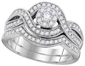 Ladies Luxury Designer 10k White Gold 0.50 Cttw Diamond Engagement Ring Bridal Set
