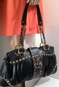 Sharif Leather Snakeskin Studded Shoulder Bag