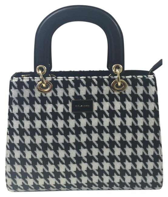 Item - Black and White Knit Leather Satchel