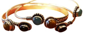 Other 3 PIECES TIGER EYE, AMETHYST - STERLING SILVER OVERLAY CUFF BRACELETS