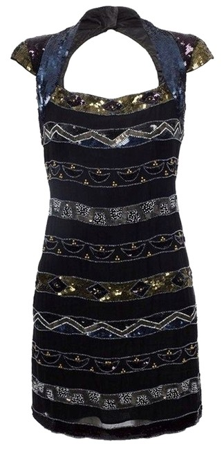 French Connection Sequin Beaded Cut-out Cocktail Dress