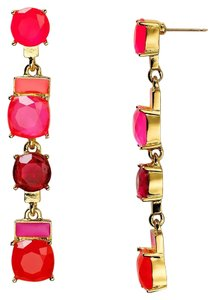 Kate Spade Gold Plated Cause A Stir Drop Earrings PINK ORANGE CUSHION LINEAR