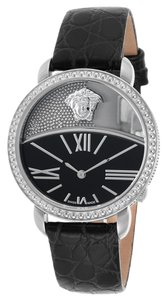 Versace Women's Black Genuine Leather Stainless Steel
