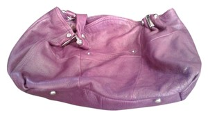 B. Makowsky B Leather Satchel in Purple