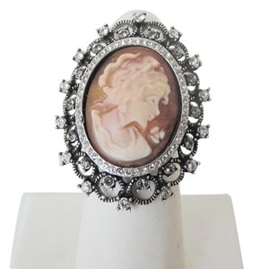 "AMEDEO AMEDEO ""Trionfo"" 25mm Cameo Crystal Ring Size 8"