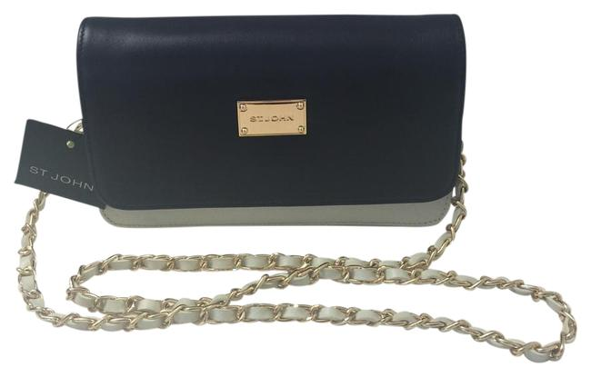 Item - Navy and White Leather Cross Body Bag