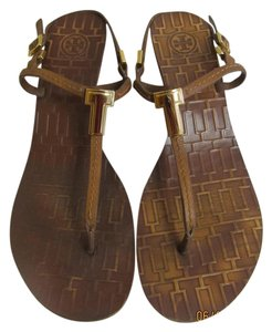 Tory Burch Leather Strap Gold T Logo Brown/Tan Sandals