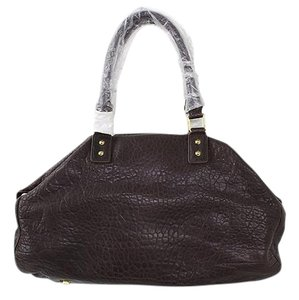 Monika Chiang Motley Pebbled Leather Satchel in Chocolate