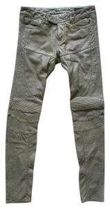 AllSaints All Saints Leather Motorcycle Skinny Pants Olive Green
