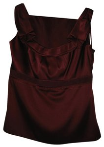 Elie Tahari Silk. Pleats Top Maroon/Red