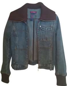 BCBGMAXAZRIA Fall Classic Denim & Chocolate Brown Womens Jean Jacket