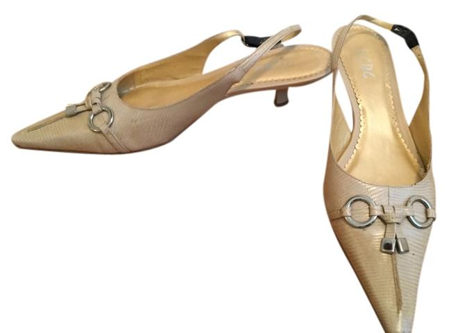 Item - Nude Lizard Slingback Heel Pumps Size US 9 Regular (M, B)
