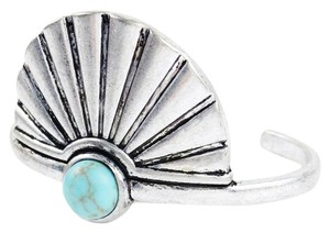 Lucky Brand NWT Feather Fan Cuff Bracelet, Silvertone with Turquoise Stone