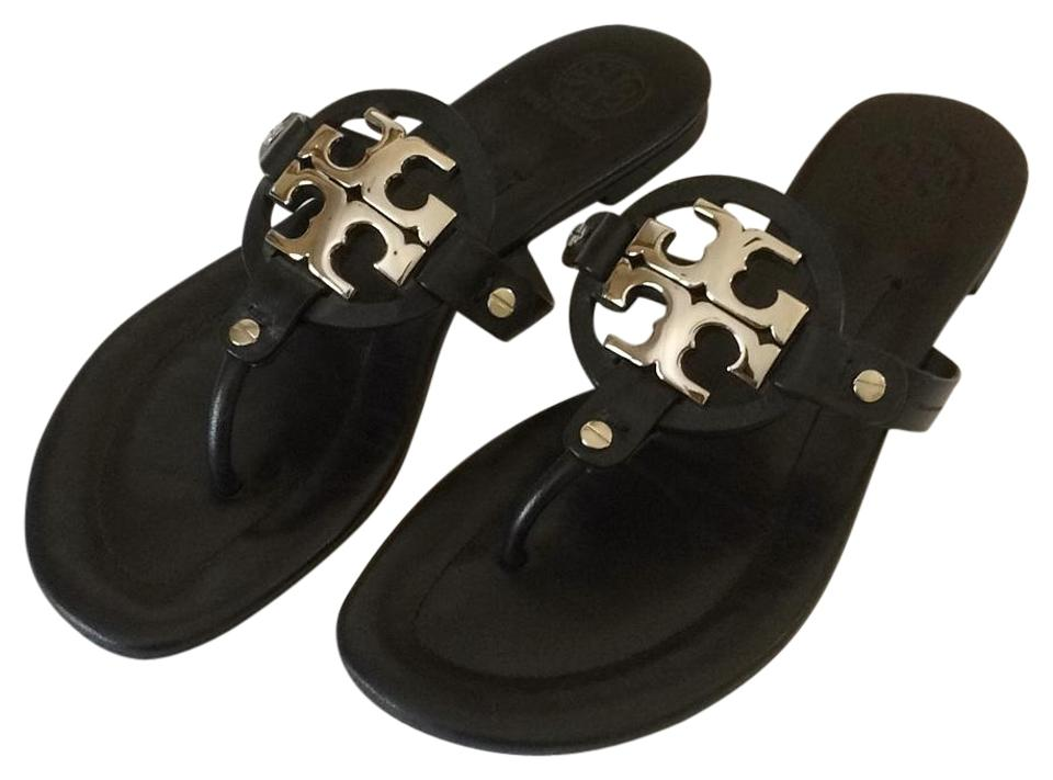 Tory Burch Black Metal Leather with Silver Colored Metal Black Accent Sandals 19b471
