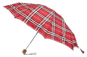 Burberry Burberry Vintage Red Classic Plaid Umbrella w/ Wooden Handle (27699)