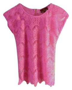 Fenn Wright Manson Lace Tee Exposed Zipper Sheer Top Hot pink