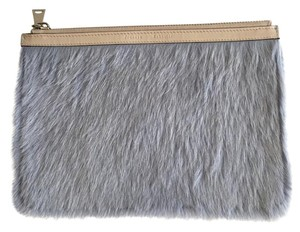 Proenza Schouler Zip Pouch Calf Hair Calfskin Leather Light Grey/Nude Clutch
