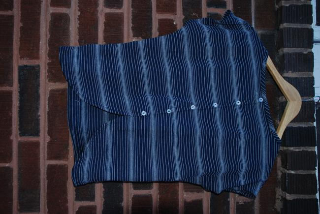 Pink Rose Loose Soft Comfy Buttons Down Back T Shirt Navy Stripe