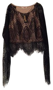 Luxxel Top Black lace over Nude shell