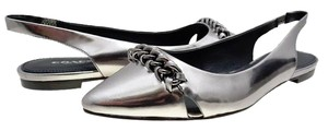 Coach Warm Pewter Silver Metalic Flats