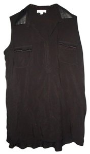 Faux Leather Sexy Tunic Top Black