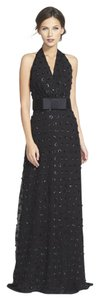 MILLY Belted Embellished Polka-dot Halterneck Gown Dress