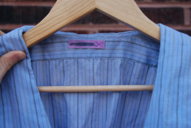 Urban Renewal Baby Doll Sexy Chic Hip Hipster Unique Pinstripe Buttons Top Baby Blue