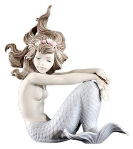 Lladró Lladro Illusion Mermaid # 1413 With Pearl Stand Box and Booklets Authentic