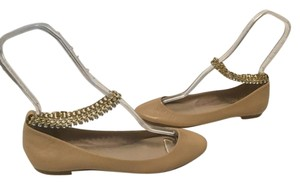 Zara Padded Insoles Hanging Cut Tan leather gold ankle chains glistening stones Flats