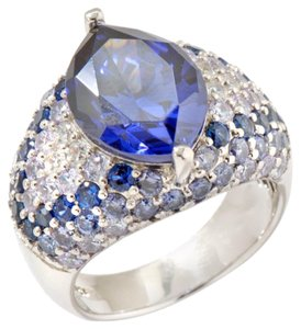 Jean Dousset Jean Dousset 7.40ct Absolute and Created Gem Tanzanite-Color and Multi Pave' Sterling Silver Ring - Size 7
