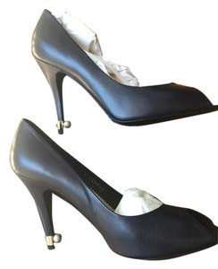 Chanel Open Toe Brand New High Heels Open Toes Navy Blue Pumps