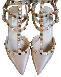 Valentino Rockstuds Heels Pointed Toe Nude Pumps