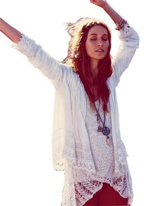 Free People Pintucks Lace Top White